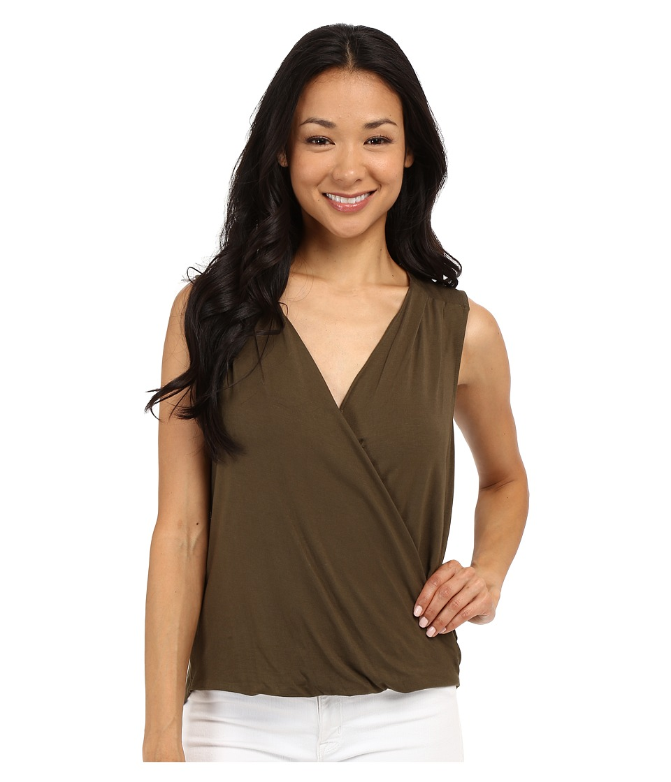 Adrianna Papell - Solid Wrap Top (Olive) Women's Sleeveless