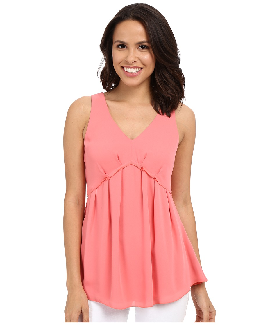 Adrianna Papell - Pleate Sleeveless Blouse (Light Coral) Women's Blouse