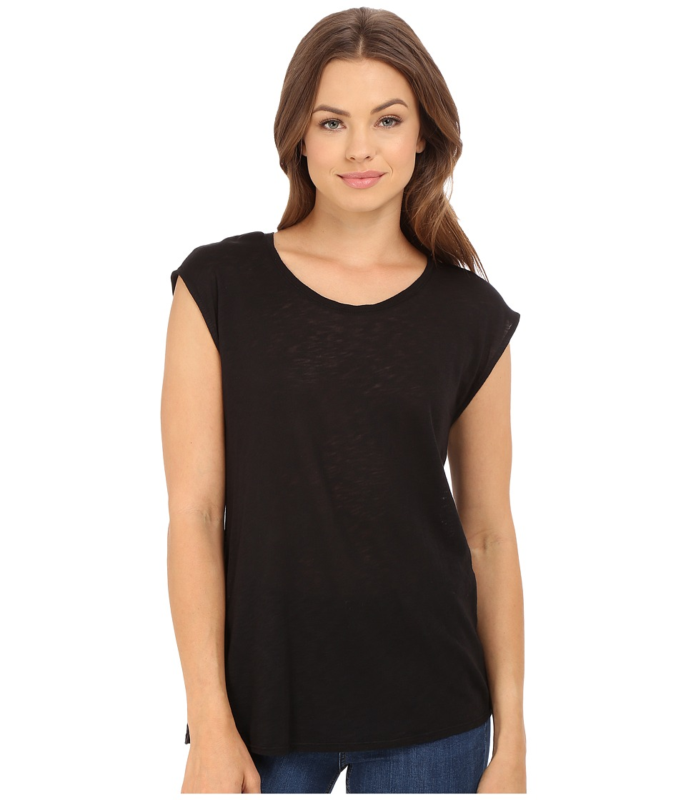 Splendid Slub Back Panel Tee (Black) Women