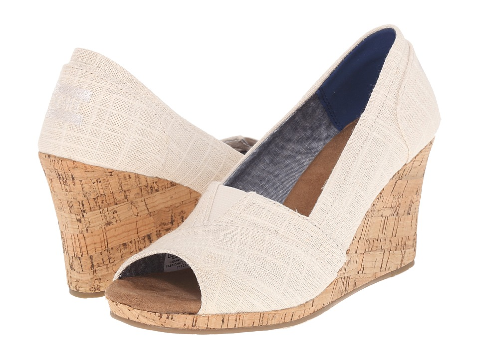 TOMS Classic Wedge Natural Linen with Cork Wedge Wedge Shoes