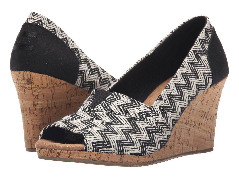 TOMS - Classic Wedge (Black Chevron Woven with Cork Wedge) Women