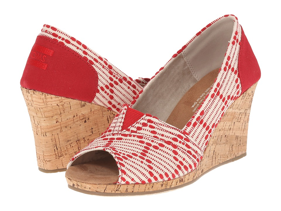 TOMS - Classic Wedge (Scarlet Multi Cross Stitch with Cork Wedge) Women's Wedge Shoes