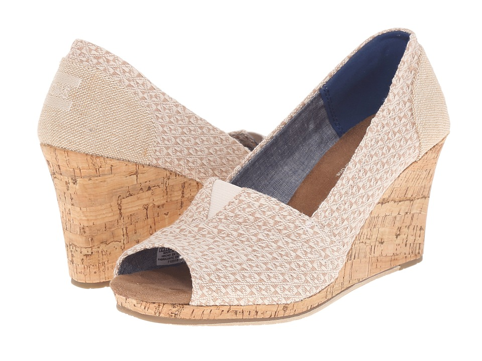 TOMS Classic Wedge (Natural Woven Triangle with Cork Wedge) Women