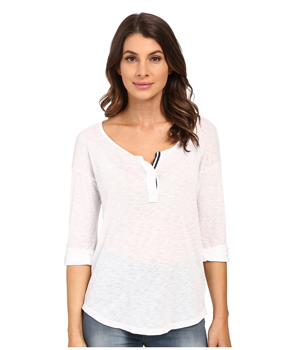 Splendid - Slub Henley (White) Women's Long Sleeve Pullover