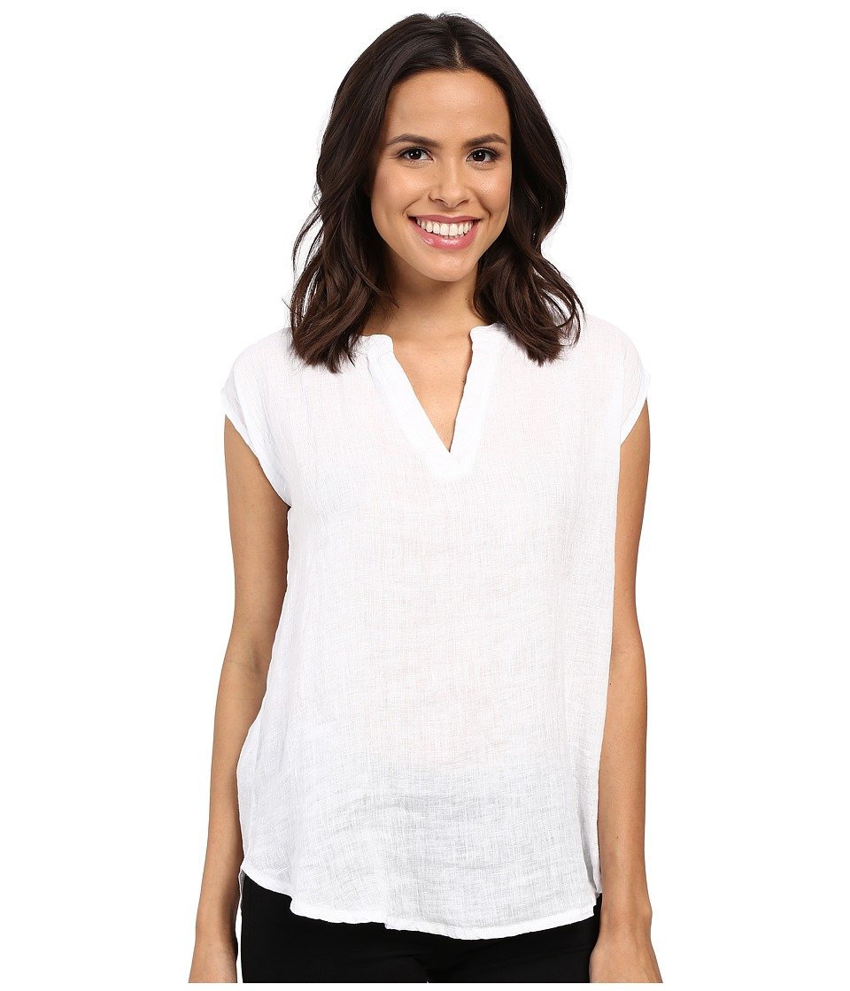 Allen Allen - Linen Split Neck Top (White) Women's Blouse
