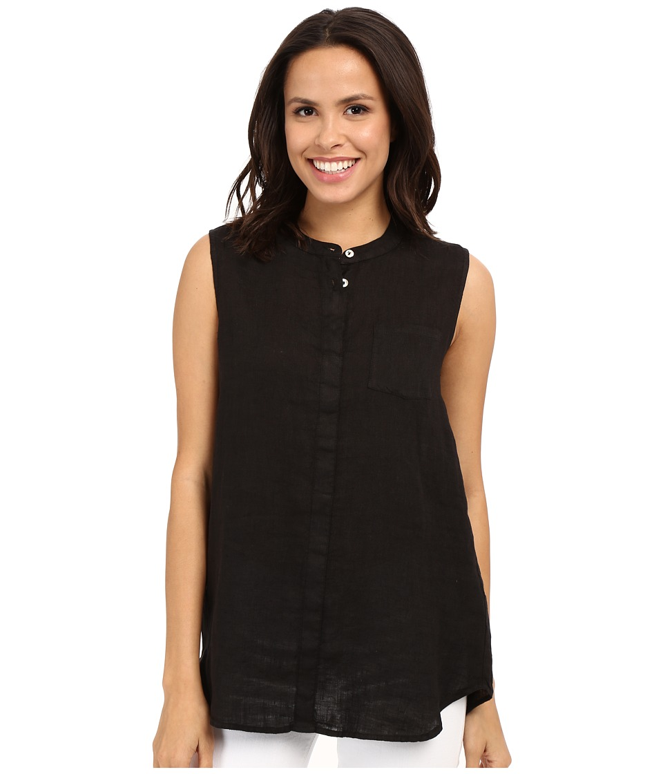 Allen Allen - Linen Mock Collar Shirt (Black) Women's Blouse