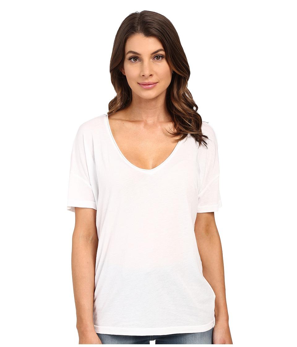 Splendid - Very Light Jersey V-Neck Tee (White) Women's Short Sleeve Pullover
