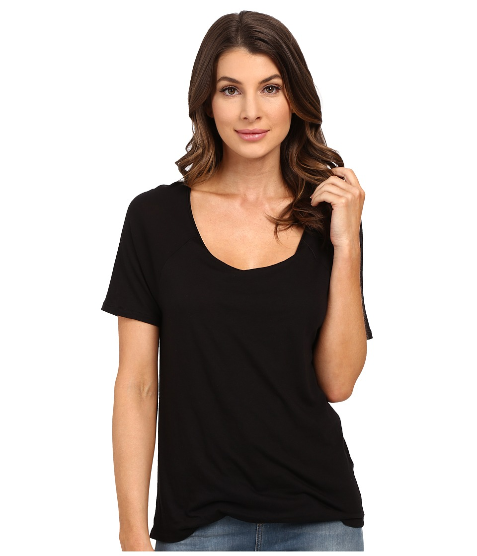 Splendid Very Light Jersey Tucked Tee (Black) Women
