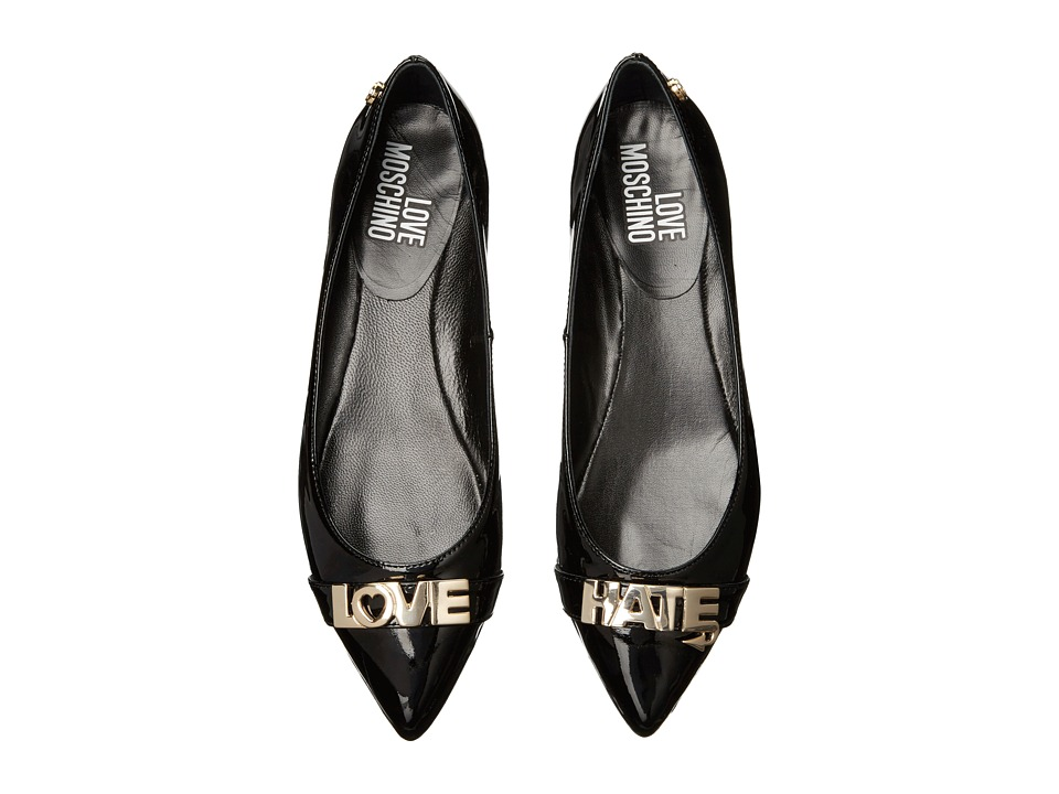LOVE Moschino - Love Hate Ballerina Flat (Black) Women's Flat Shoes