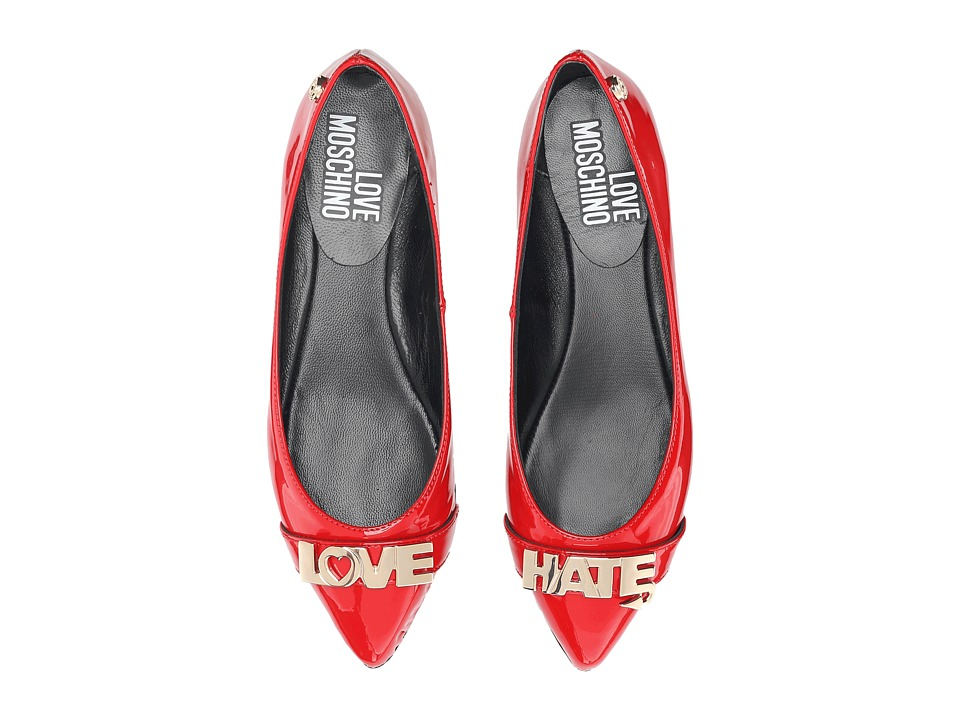 LOVE Moschino - Love Hate Ballerina Flat (Red) Women's Flat Shoes