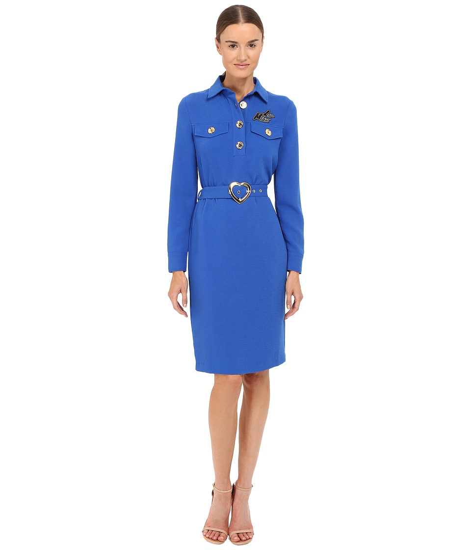 LOVE Moschino - Dress with Heart Belt (Blue) Women's Dress