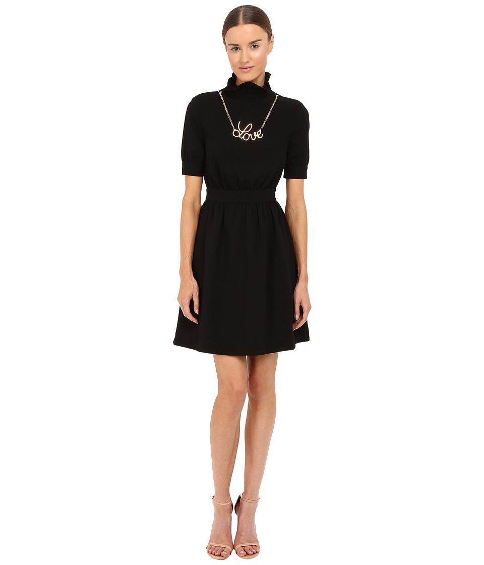 LOVE Moschino - Dress with Gold Love Necklace (Black) Women's Dress