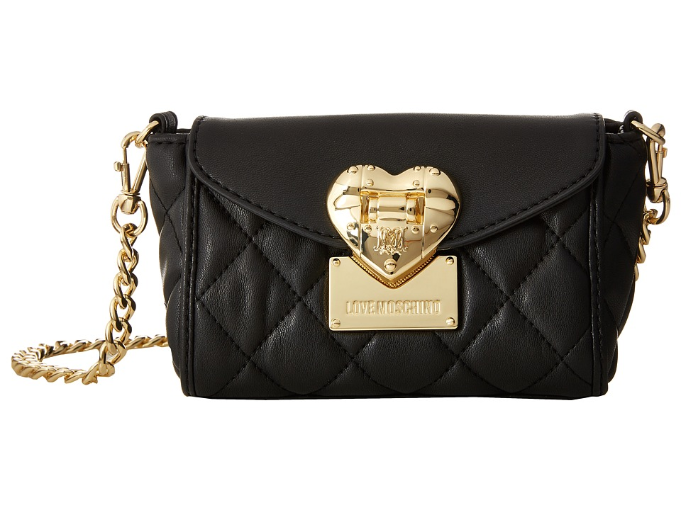 LOVE Moschino - Quilted Flap Front Heart Crossbody (Black) Cross Body Handbags