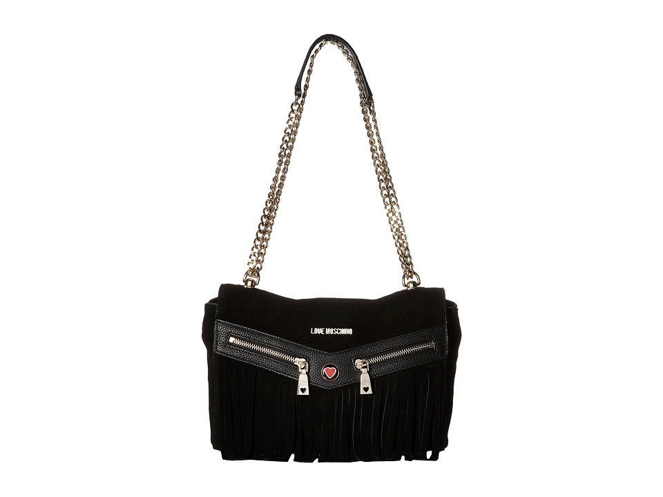 LOVE Moschino - Fringe Crossbody (Black) Cross Body Handbags