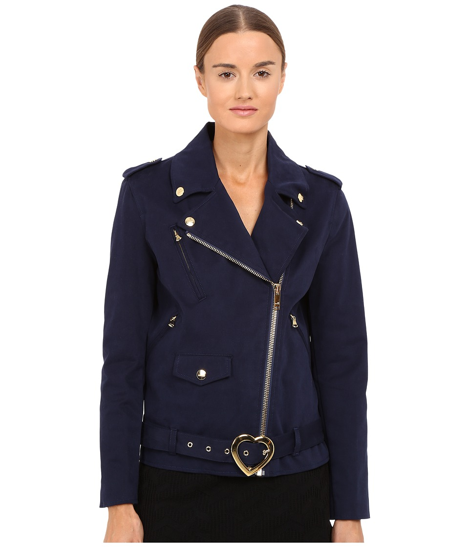 LOVE Moschino - Coat with Heart Buckle (Navy) Women's Coat