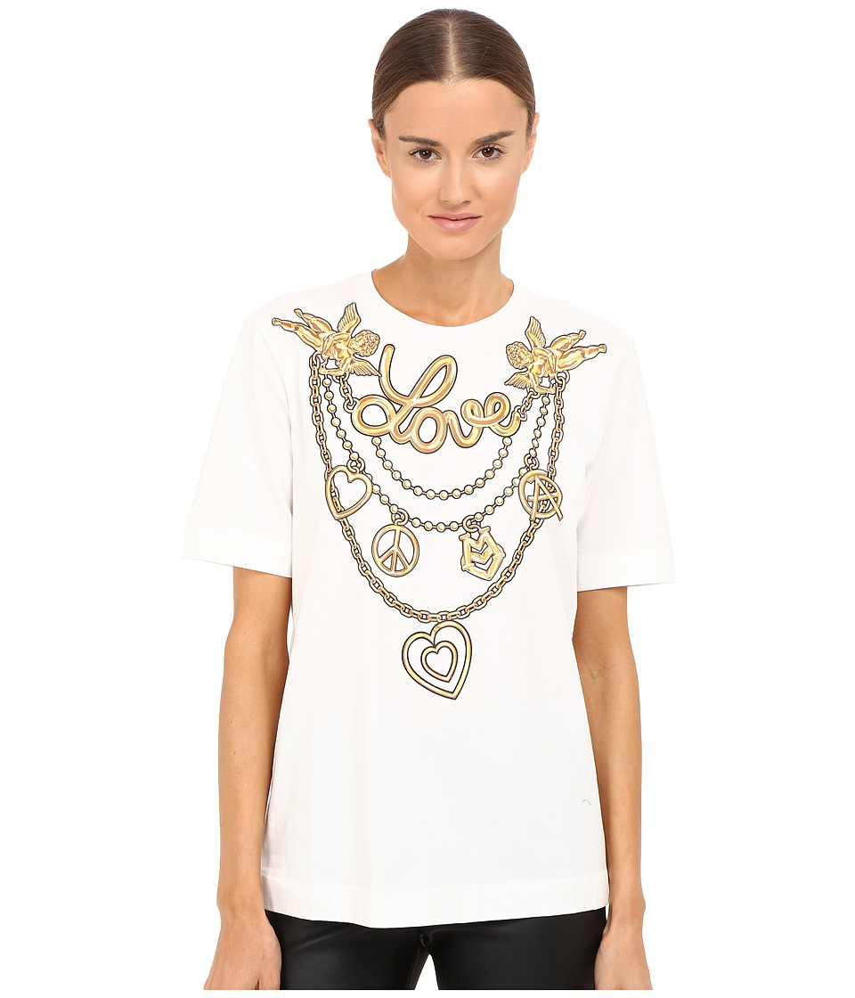 LOVE Moschino - T-Shirt with Gold Love (White) Women's T Shirt