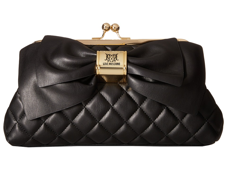 LOVE Moschino - Quilted Bow Clutch (Black) Clutch Handbags