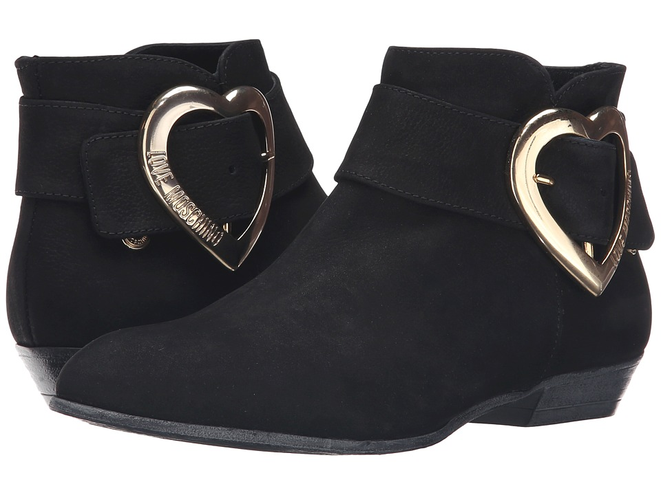 LOVE Moschino - Suede Heart Buckle Ankle Bootie (Black) Women's Boots