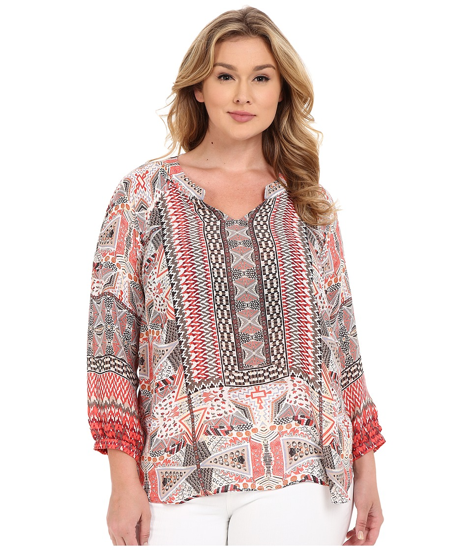 NIC+ZOE - Plus Size Prismatic Top (Multi) Women's Clothing