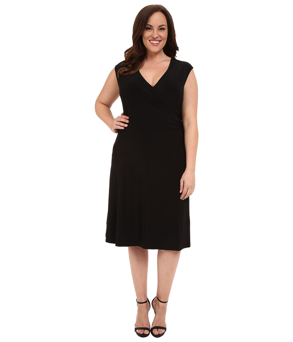 NIC+ZOE - Plus Size Wrap Dress (Black Onyx) Women's Dress