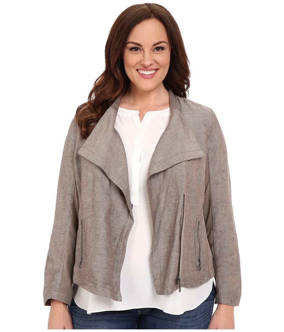 NIC+ZOE - Plus Size Sundown Moto Jacket (Mushroom Mix) Women's Coat
