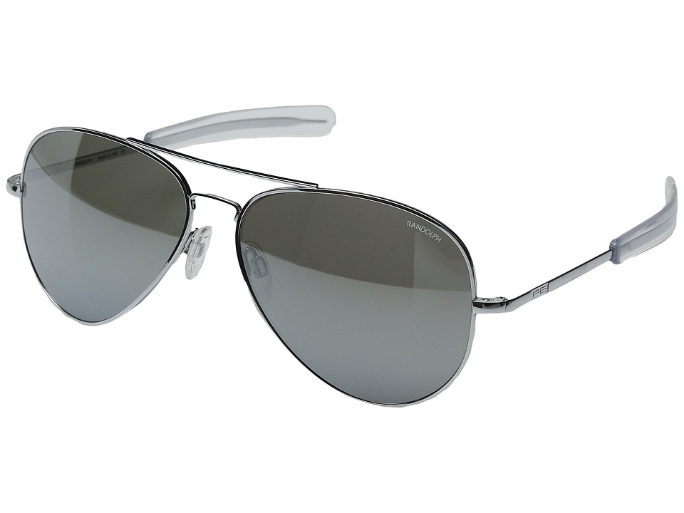 Randolph - Concorde 61mm (Bright Chrome/Gray Flash Mirror Glass with Skull Temple) Fashion Sunglasses