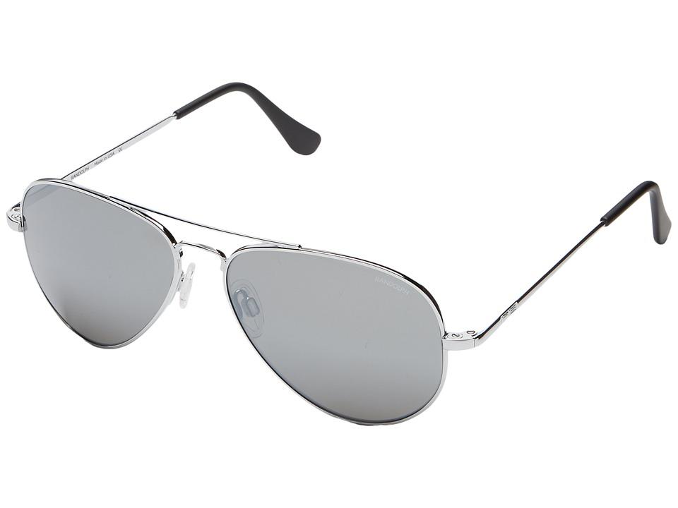 Randolph - Concorde 57mm (Bright Chrome/Gray Flash Mirror Glass with Skull Temple) Fashion Sunglasses