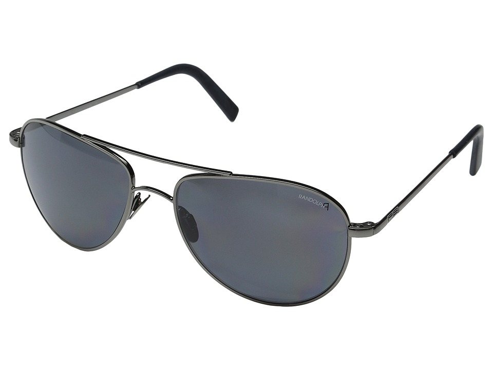 Randolph - Hawk 57mm Polarized (Dark Ruthenium/Gray Polarized PC/Skull Temple) Fashion Sunglasses
