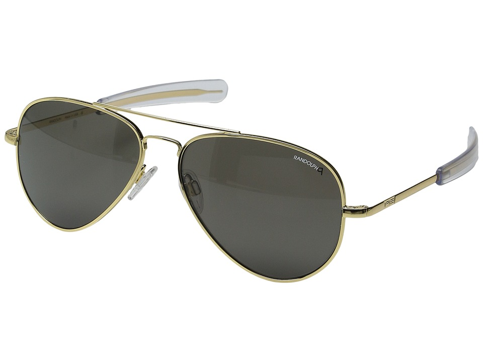 Randolph - Concorde 57mm Polarized (23K Gold/Gray Polarized Glass with Skull Temple) Fashion Sunglasses