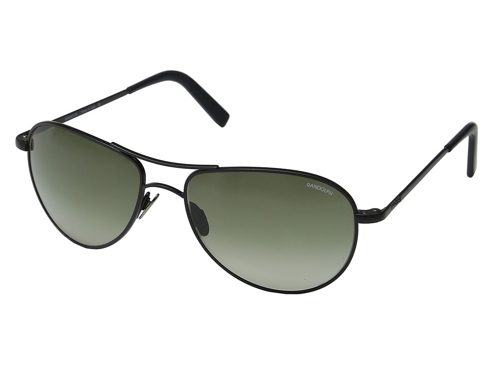 Randolph - Hawk 57mm (Matte Black/Green Gradient Nylon/Skull Temple) Fashion Sunglasses