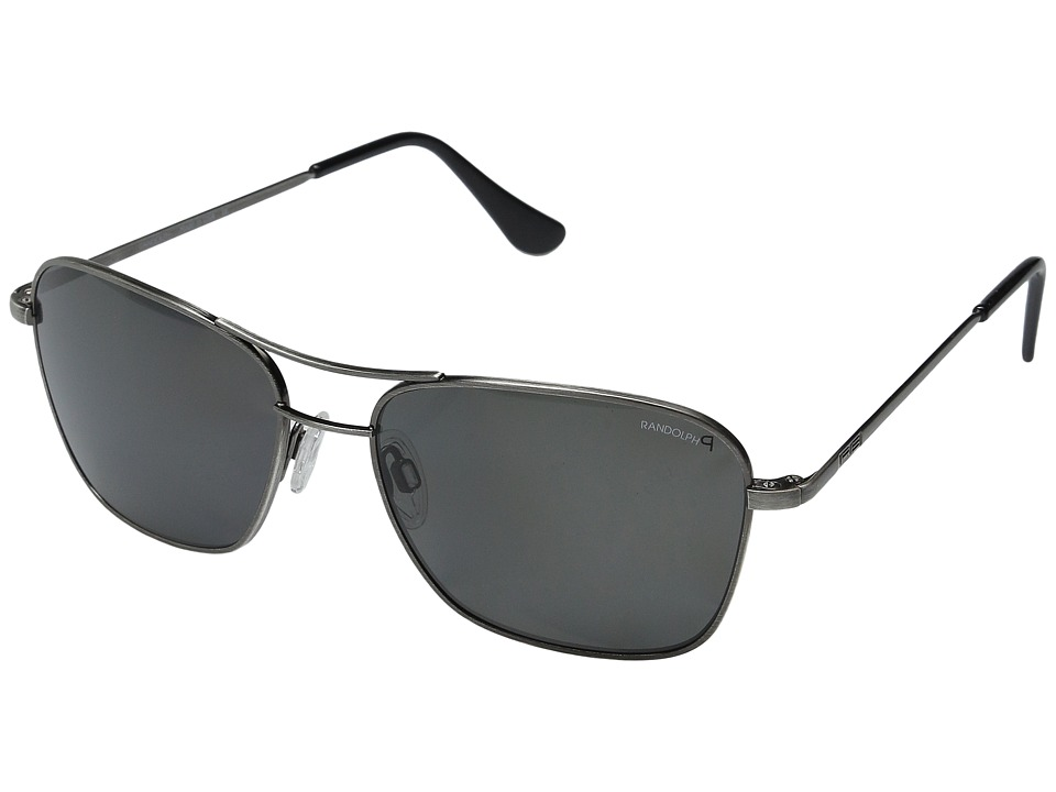Randolph - Corsair 58mm Polarized (Antique Silver/Gray Polarized PC with Skull Temple) Fashion Sunglasses
