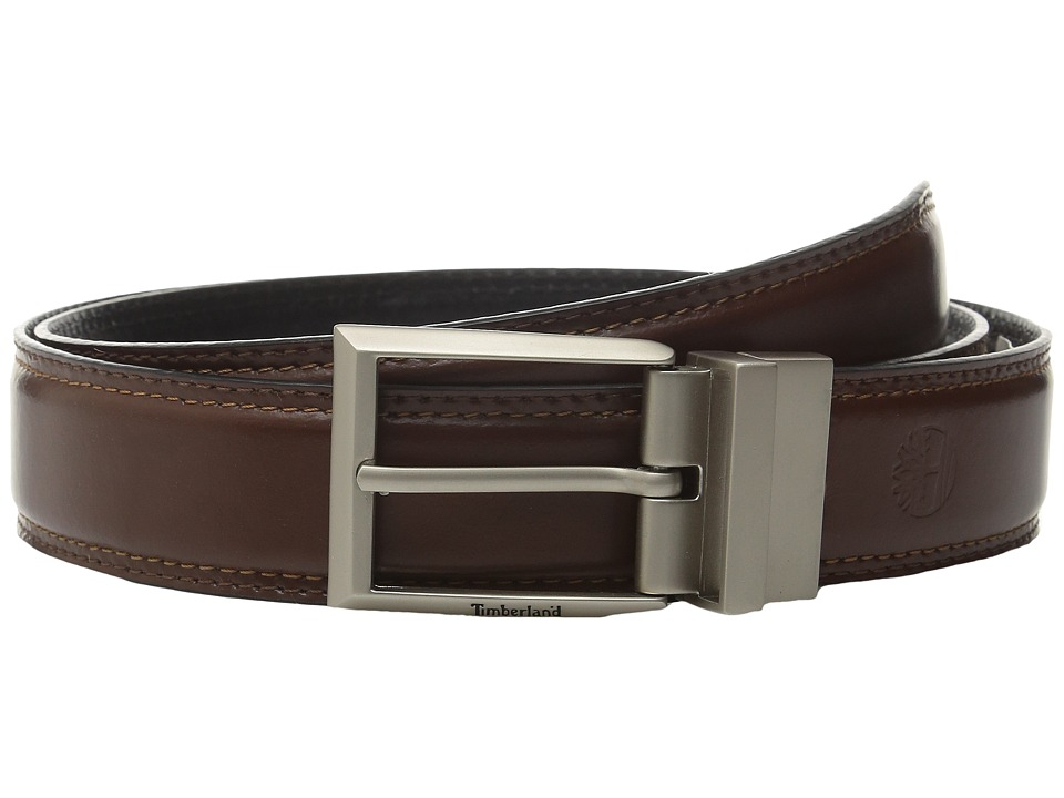 Timberland - 35MM Feather Edge Reversible Belt (Brown/Black) Men's Belts