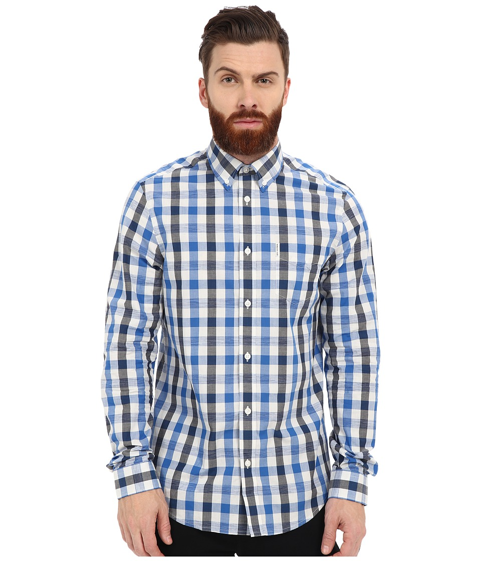 Ben Sherman - Long Sleeve Space Dyed Gingham MA11367A (Bright Royal) Men's Clothing