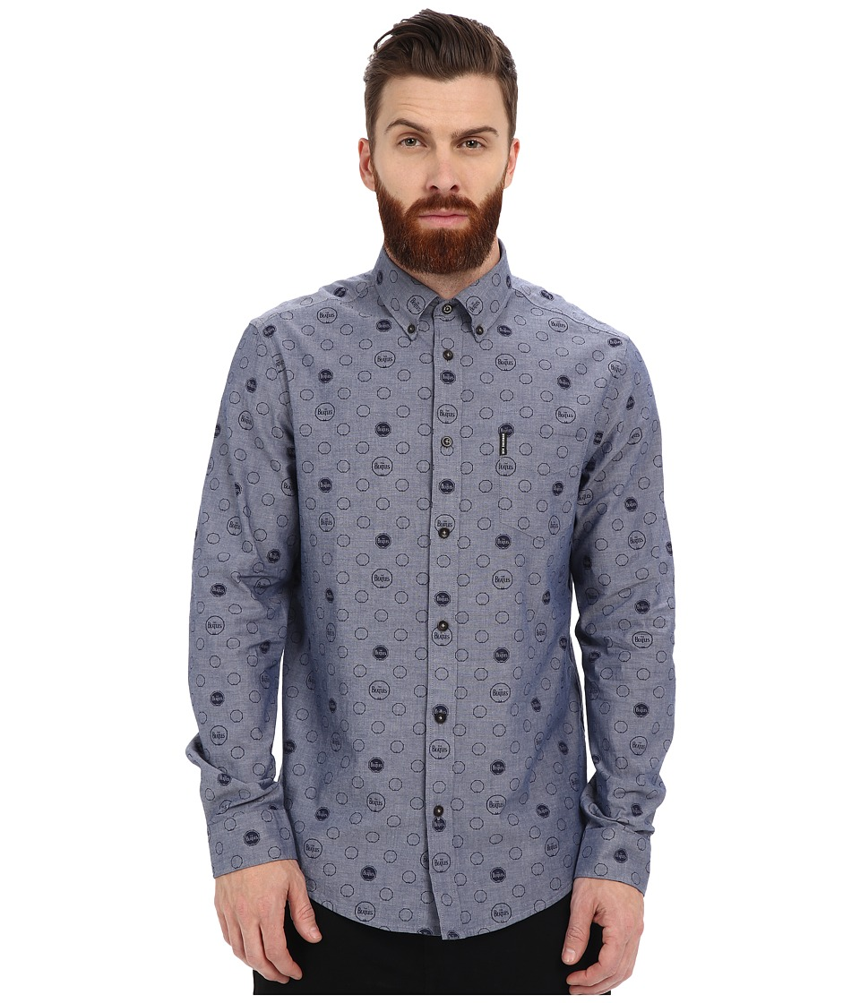Ben Sherman - Long Sleeve Beatles Drumprint Chambray MA12758A (Staples Navy) Men's Clothing