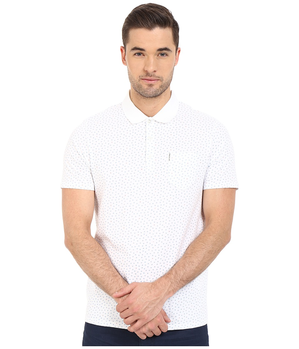 Ben Sherman - Short Sleeve Mini Geo Print Polo MC12331A (Bright White) Men's Clothing