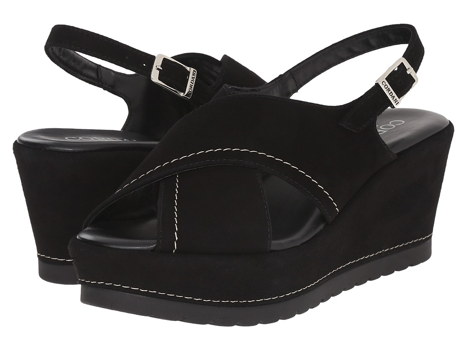 Cordani - Delight (Black Suede) Women's Wedge Shoes