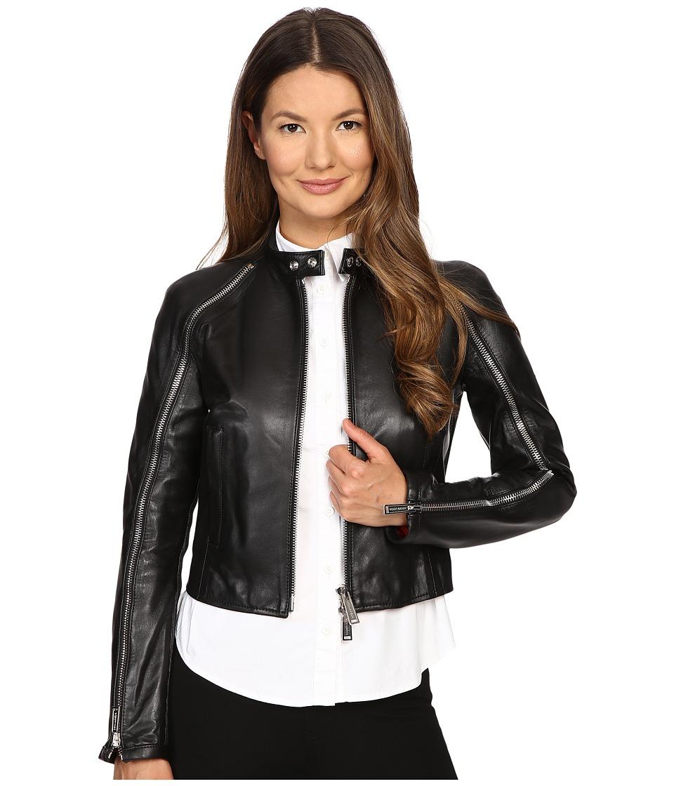 DSQUARED2 - Lamb Leather Lone Star Leather Jacket (Black) Women's Coat