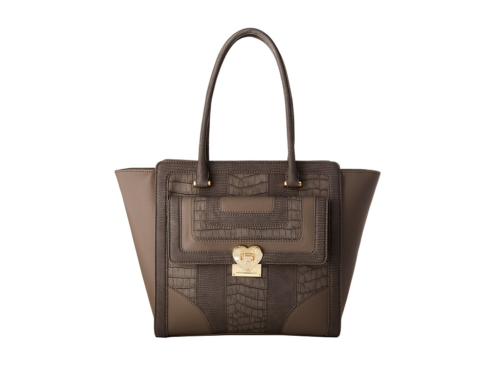 LOVE Moschino - Snake Embossed Tote (Grey) Tote Handbags