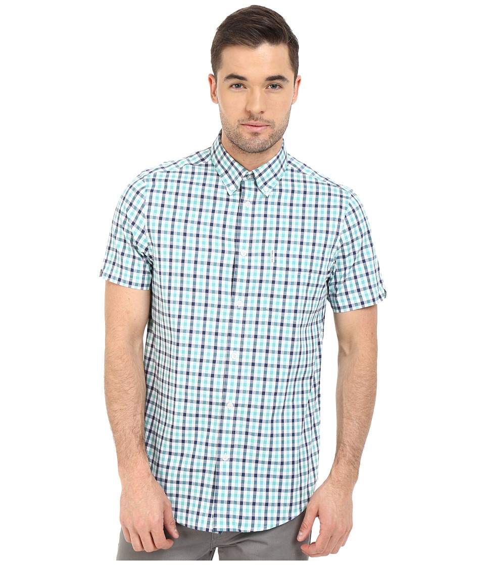 Ben Sherman - Short Sleeve House Ginham Check Woven MA11554A (Jade Green) Men's Short Sleeve Button Up