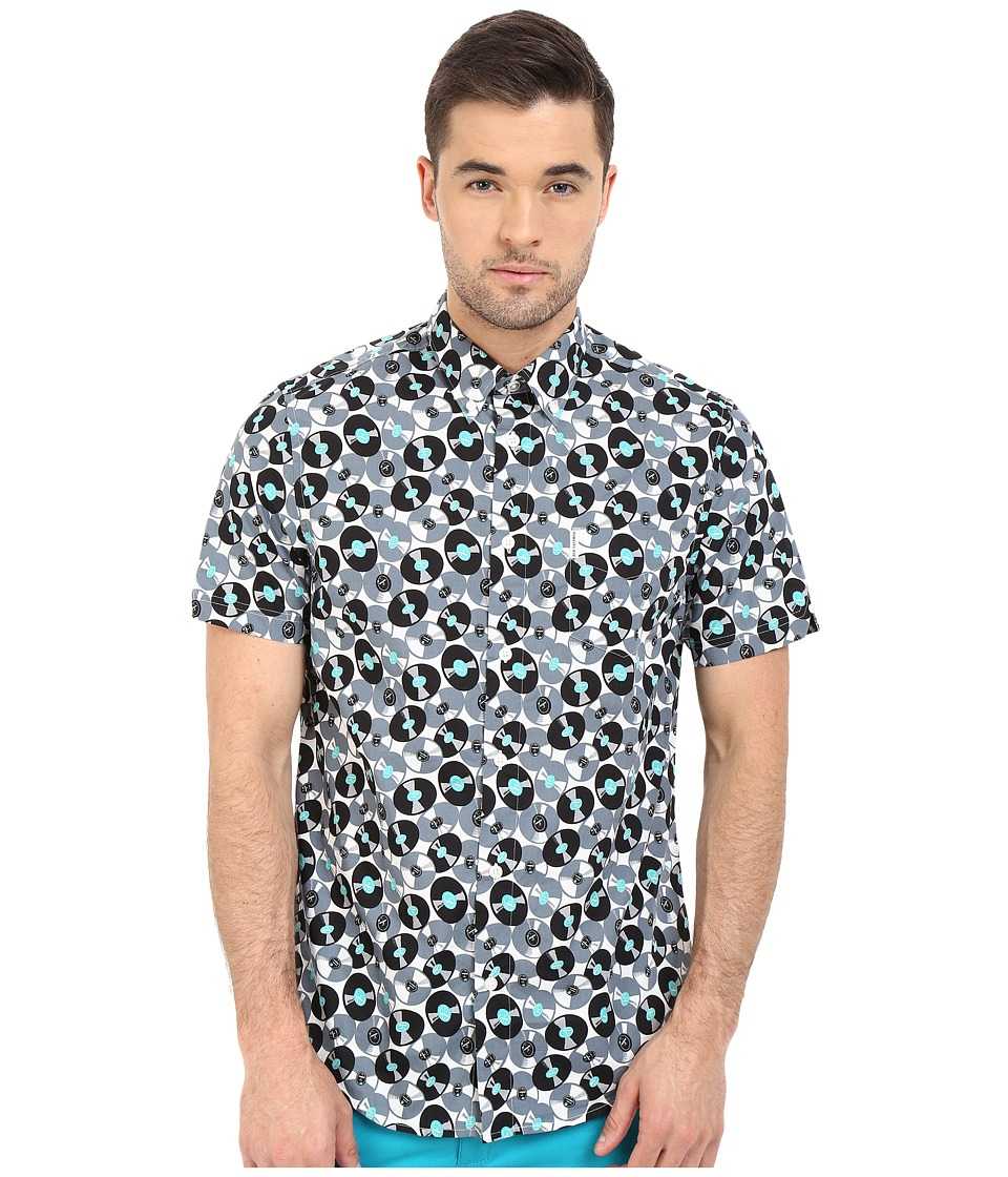 Ben Sherman - Short Sleeve Record Print Woven MA12409A (Light Grey) Men's Clothing