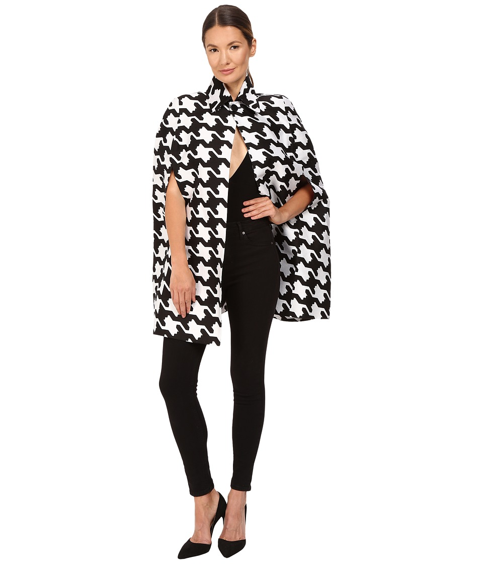 DSQUARED2 - Pied De Poule Jacquard Babewire Jacquard Cape Top (Black/White) Women's Clothing