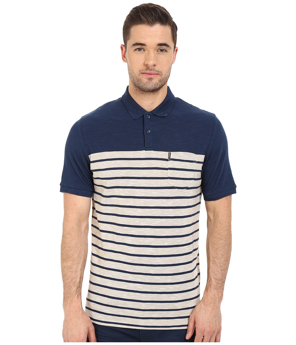 Ben Sherman - Short Sleeve Slub Stripe Polo MC12333A (Petrol Blue) Men's Clothing