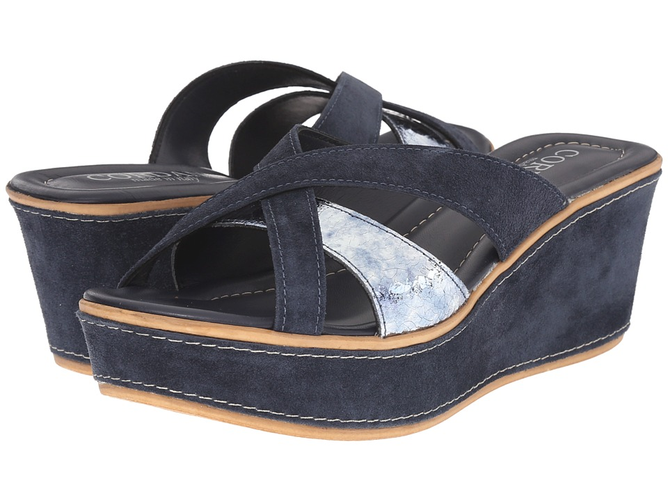 Cordani - Kirstie (Navy/Silver) Women's Wedge Shoes