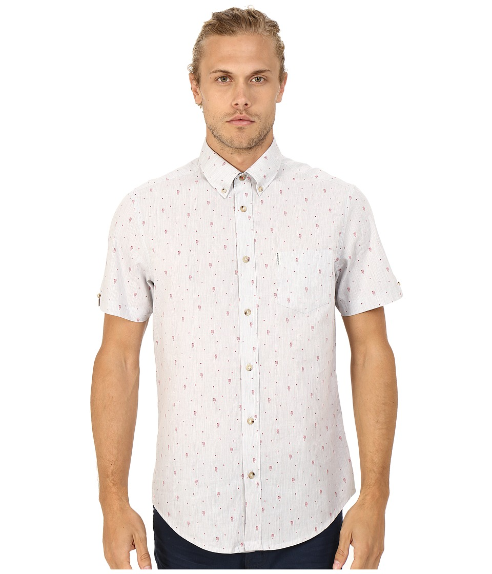 Ben Sherman - Short Sleeve Seaside Print Woven MA12431A (Light Grey Marl) Men's Short Sleeve Button Up