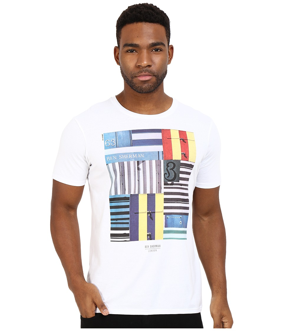 Ben Sherman Short Sleeve Beach Huts Stripe Tee MB12324 (Bright White) Men