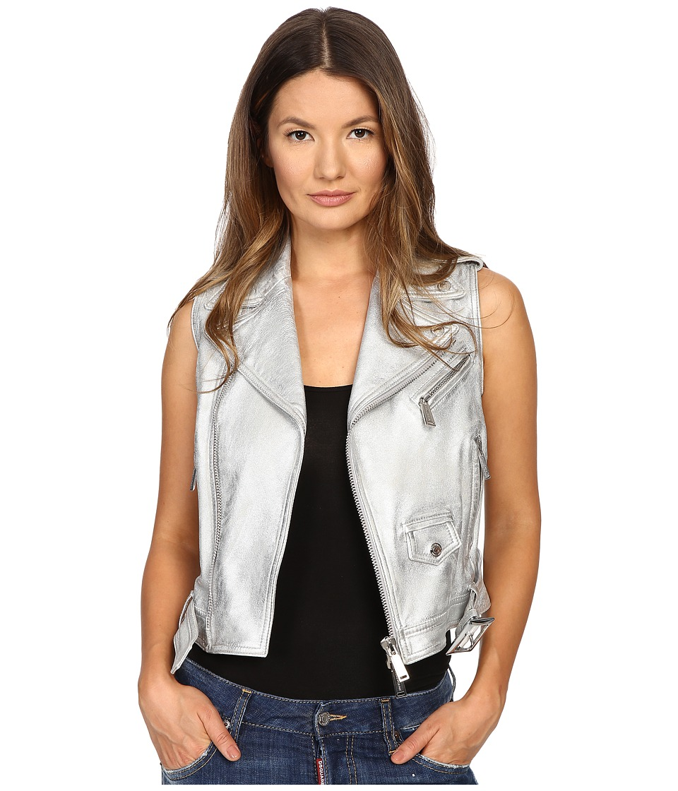 DSQUARED2 - Lamb Leather Silver Leather Gilet Top (Silver) Women's Clothing