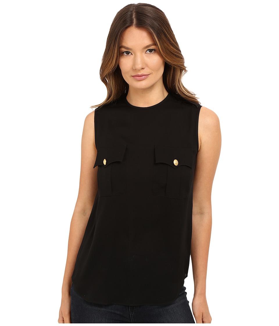 DSQUARED2 - Silk Georgette Sleeveless Top (Black) Women's Sleeveless