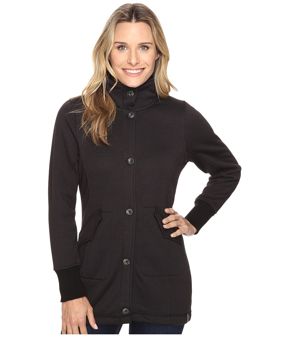Woolrich - Alpine Wool Fleece Long Coat (Black Heather) Women's Coat