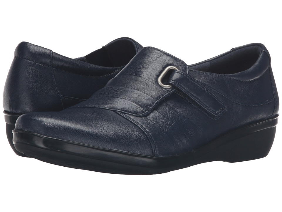 Clarks - Everlay Luna (Navy Leather) Women's Shoes