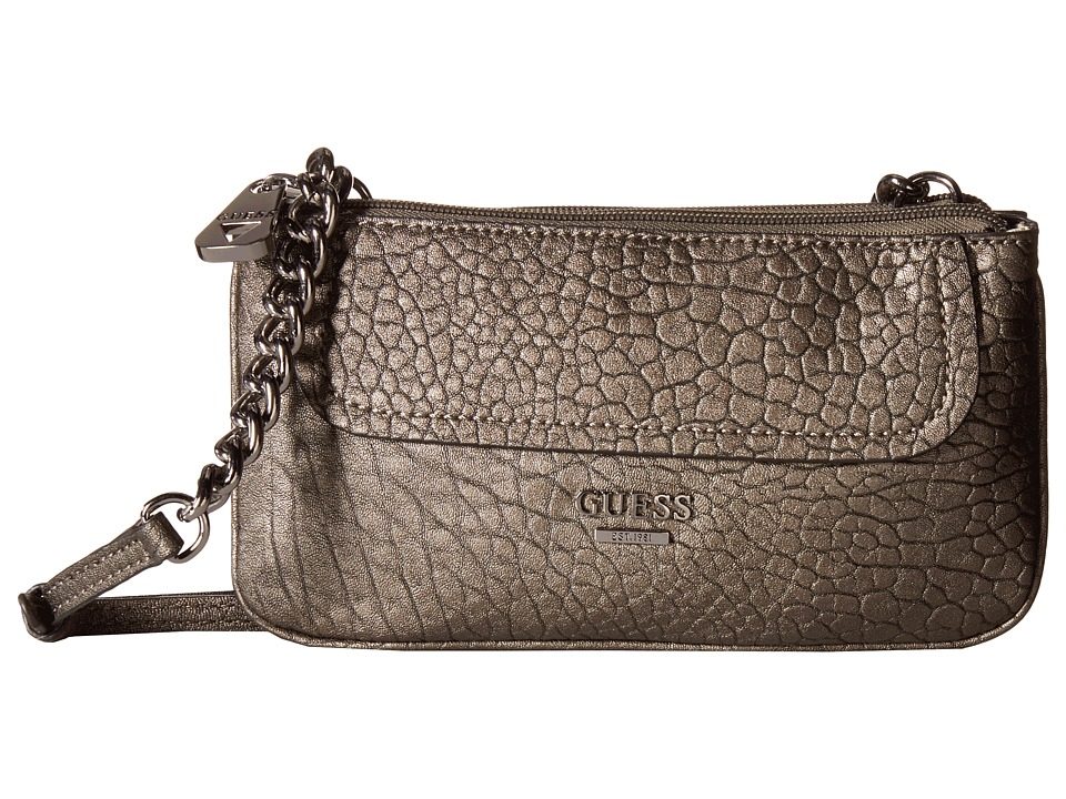 GUESS - Frankee Petite Double Zip Crossbody (Pewter) Cross Body Handbags